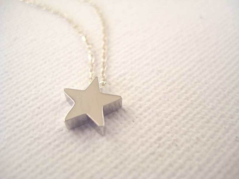 Sterling silver necklace with tiny star bead make a wish on luulla sterling silver necklace with tiny star bead make a wish mozeypictures Images