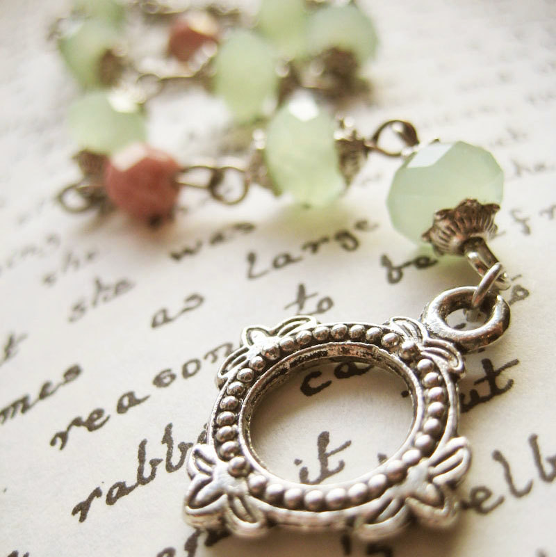 Bracelet of pastel green and pink Czech glass - Apple Blush